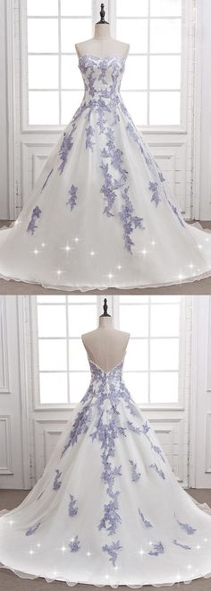 White tulle long senior prom dress with blue lace appliques #promdress #dress #gown