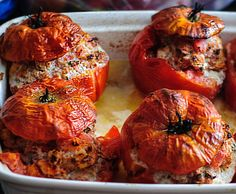 """Tomates Farcies: """"Stuffing summer tomatoes with ground beef to creates the quintessentially French tomate farcie."""""""