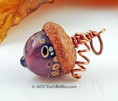 $20  Purple Opal Lampwork Acorn Pendant - Handmade lampwork art beads, jewelry & supplies by Bastille Bleu Lampwork. $20.00, via Etsy.