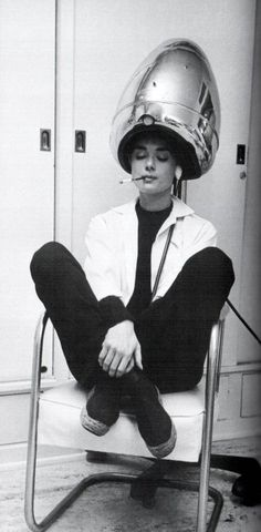 Audrey Hepburn, espadrilles, black and white ensemble, cigarette