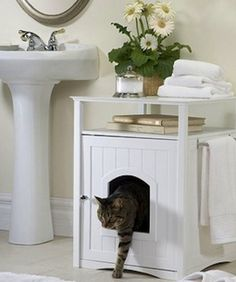Sometimes the best place for your cat to do its bathroom business is where you do yours, but that doesn't mean you want a front row seat to the litter box every time you use the restroom. The Merry Pet Stand easily solves that problem,  concealing your kitty's litter in an attractive and useful washroom stand. Everyone gets to keep their privacy, so everybody's happy. - Merry Pet Products