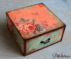 Cottage Chic jewelry drawer, decoupage drawer, shabby chic home decoration, handmade drawer, artificially aged handcrafted, Cottage Chic box