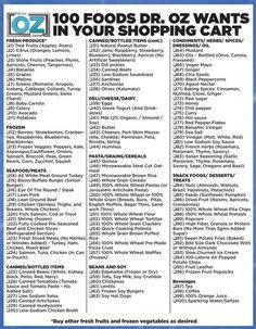 Dr. Oz Shopping List!