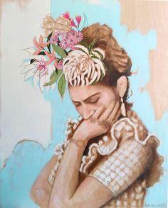 "Frida, Portrait of Frida Kahlo, Portrait Painting, Frida Kahlo, Original painting, Original Artwork, Woman with Flowers, Marisa Añón, 32x26"""