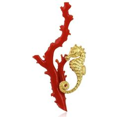 18k Yg Seahorse on Coral Branch Pin ($3,500) ❤ liked on Polyvore featuring jewelry, brooches, pin jewelry, sea horse jewelry, pin brooch, 18 karat gold jewelry and coral brooch