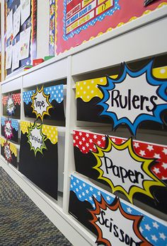 Get organized in SUPER style!  The popular Superhero Themed Classroom from Teacher Created Resources is sure to WOW your students. Featuring skyscrapers, pop art wording, lights in the sky, superhero patterns, and traditional colors of superheroes! Red, Blue, Yellow and Black.