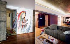 O grafite, criado por Nove, percorre o piso da cozinha, sobe pela parede do corredor e invade a sala de jantar. As pastilhas de lâmpadas LED, embutidas no teto e no piso, destacam o desenho e o volume de concreto do elevador