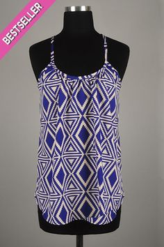 *** New Style *** Flirty Lightweight Drop Waist Tank with Racerback in Stacked Tribal Diamond and Triangle Pattern.