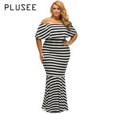 New Plusee Plus Size Dress Women Autumn Bodycon Slash Neck Patchwork Stripe  Sexy Plus Size Dress 573f86300f53