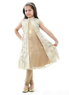 Glass nylon with gold lamme' appliqué and Tinsel chiffon Anarkali set with Stretch net pajama Baby Girl Frocks, Kids Frocks, Frocks For Girls, Little Girl Dresses, Girls Dresses, Frock Fashion, Girl Fashion, Kids Dress Collection, Kids Ethnic Wear