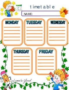 This Back to school Timetable is perfect for beginning of the year decor in class or for gifting the kids their own personal timetable to complete. The timetable is colored and black and white. Enjoy!
