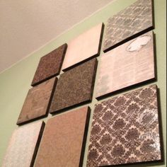 DIY artwork...scrap booking paper modge podge on wood...boys room
