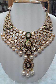 Glittering green meena-diamond polki necklace | Kundan Meena Jewelry | Vilandi Jewelry | Diamond polki jewelry | Bridal sets | Traditional Indian Jewelry | Wedding Jewelry