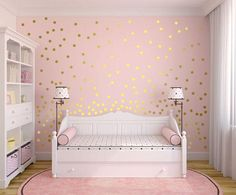 Metallic Gold Wall Decals Polka Dot Wall Sticker Decor - Inch, Inches Circle Vinyl Wall Decal - Interior Design Tips and Ideas Polka Dot Walls, Polka Dot Wall Decals, Polka Dots, Polka Dot Bedroom, Unicorn Bedroom, Unicorn Decor, Unicorn Wall Decal, Unicorn Rooms, Gold Walls