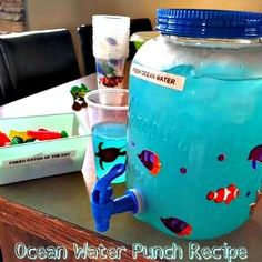 "Ocean Water Punch Recipe: This is a fun punch recipe for celebrating your child& birthday with friends or to just add a ""punch"" of color to your party table. Ocean Theme Snacks, Ocean Themes, Ocean Water Drink, Birthday Party Drinks, Birthday Ideas, Alcoholic Punch Recipes, Ocean Party, Shark Party, Beach Party"