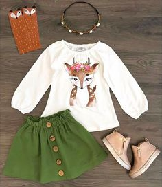Pudcoco 2PCS Children Toddler Kids Baby Girl Clothes Xmas Deer Tops +Skirts Autumn Outfit Clothes Set Baby Girl Fashion, Fashion Kids, Toddler Fashion, Fashion Fashion, Toddler Girl, Baby Kids, Kids Christmas Outfits, Christmas Clothes, Toddler Christmas