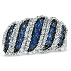 Sapphire and 1/3 CT. T.W. Diamond Band in Sterling Silver