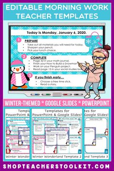 These winter-themed Editable PowerPoint and Google Slides Teacher Templates include space to type the day and date, reminders of what to do when entering the classroom, as well as 'must do' and 'may do' assignments. Remind your students of their morning assignments during arrival time by displaying them on your whiteboard or SMARTBoard. #teachertemplates #morningarrivalinstructions #editable #powerpoint #googleslides #winter
