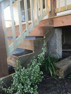 how to wrap front porch concrete stairs with wood