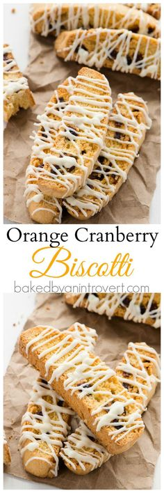 Orange Cranberry Biscotti - The most flavorful and festive holiday biscotti. Full of orange flavor, dotted with cranberries, and drizzled with white chocolate goodness! Baking Recipes, Cookie Recipes, Dessert Recipes, Desserts, Biscotti Recipe, Italian Cookies, Orange Recipes, Christmas Baking, Christmas Cookies