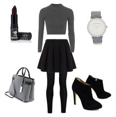 """""""Grey outfit for fall"""" by szabo-dominika on Polyvore featuring Donna Karan, Polo Ralph Lauren, Topshop, Giuseppe Zanotti, Michael Kors, Larsson & Jennings and Manic Panic"""
