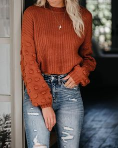 Full Of Cheer Knit Sweater – Rust - Kleidung Cute Fall Outfits, Fall Winter Outfits, Autumn Winter Fashion, Trendy Outfits, Fashion Outfits, Fashion Trends, Winter Clothes, Womens Fashion, Fashion Ideas