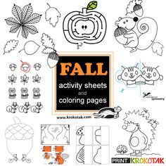Fall Coloring Pages And Activity Sheets Easy Crafts, Crafts For Kids, Arts And Crafts, Fall Coloring Pages, Fun Fall Activities, Activity Sheets, Kindergarten, Homeschool, Printables