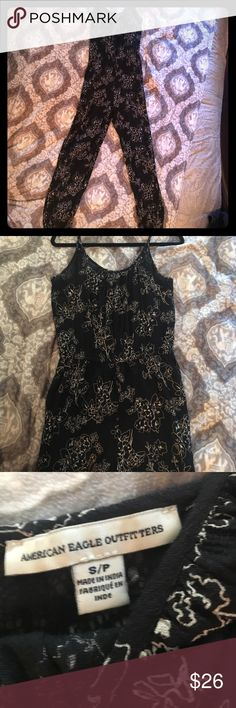 NWOT American Eagle Jumpsuit Size Small Never worn, bran new, has adjustable straps and elastic at the bottom of the legs. Black and White floral design with side pockets. Adorable!! Size small. Happy summer posh shopping!! I'm happy to answer any questions and provide measurements upon request 😊👍🕶☀️ American Eagle Outfitters Pants Jumpsuits & Rompers