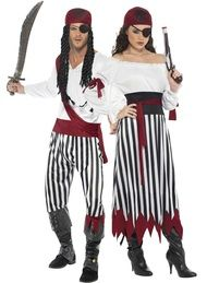 Couples Striped Pirate Fancy Dress Costumes