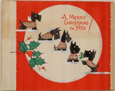 #1718 30s Art Deco Scottie Dogs on the Stairs- Vintage Christmas Card-Greeting