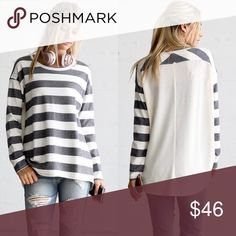 Stripe Sweater Tunic Oversized comfy stripe sweater top with long length/ tunic length. Fabric: 50% viscose 23% nylon. Sweaters