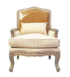Stunning Weathered Oak Italian Armchair with cowhide back.