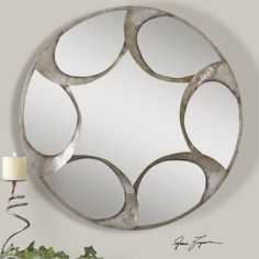 Uttermost Vento Hand Forged Metal Mirror in Lightly Antique Silver - 12827 - Lowest price online on all Uttermost Vento Hand Forged Metal Mirror in Lightly Antique Silver - 12827