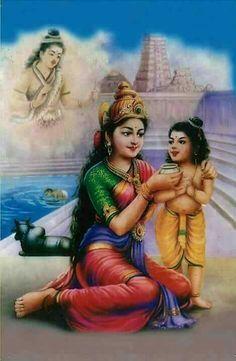 Parvathi Devi offering milk to Thirugnana Sambandar Shiva Hindu, Shiva Art, Ganesha Art, Shiva Shakti, Hindu Deities, Hindu Art, Krishna Art, Lord Ganesha Paintings, Lord Shiva Painting