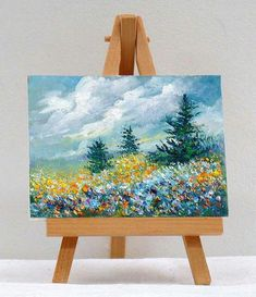 Scenic Pine Trees original miniature painting by valdasfineart Landscape Drawings, Landscape Paintings, Art Drawings, Landscapes, Watercolor Landscape, Simple Oil Painting, Painting & Drawing, Painting Clouds, Painting Portraits