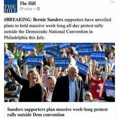 @Regrann from @njforberniesanders -  Bernie Sanderss supporters have secured permits for four demonstrations near Julys Democratic National Convention according to a new report. The events will rally support for Sanderss message while Democrats select their presidential nominee in Philadelphia according toThe Wall Street Journal. Just another example of Bernie Sanders getting Americans to care about their rights and the Democratic Process again. A lot of people would not even care or have…