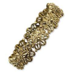 1928 Boutique Brass-tone Stretch Bracelet - 1928, BOUTIQUE, bracelet, Brasstone, Stretch http://designerjewelrygalleria.com/1928-jewelry/1928-bracelets/1928-boutique-brass-tone-stretch-bracelet/