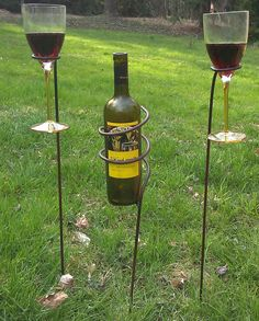 Outdoor rustic wine bottle and glass holders. $40.00, via Etsy. #wineenthusiast