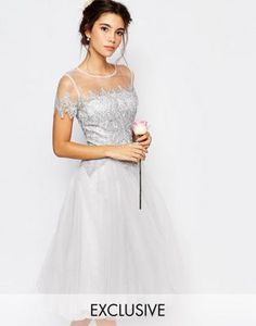 Chi Chi London Tulle Lace Midi Dress