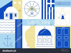 Santorini island flat and linear illustration. Vector illustration with main landmarks and icons. For magazines, web, tourism. Travel to Greece template. Santorini Island, Santorini Greece, Santorini Hotels, Mykonos, Travel Illustration, Square Photos, Greek Art, Greece Travel, Greek Islands