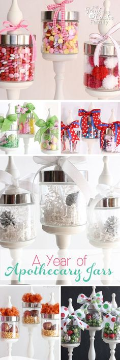 In 2013 and 2014 I made DIY Apothecary jars. Throughout those years, I showed you all kinds of ideas for each season and/or holiday to use the jars for decorating ideas. I totally meant to put them all together into one post for you and got busy and never did it. As a Happy New Year present to you…