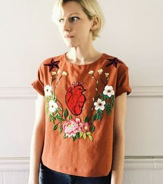 Frida top is now on etsy, with an anatomical heart, flowers,and a couple of sailor Jerry style stars #embroidery #handmade #shopsmall