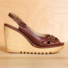 f362d69f613f Vintage Martin s wine leather platform sandals. Sawtooth wedge heels. Size  7.5 - 8.