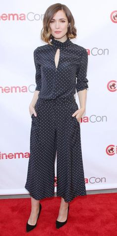 Rose Byrne in a Zimmermann blouse and matching culottes.