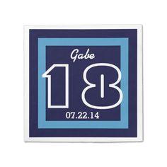 18th Birthday Modern Geometric V16 NAVY and WHITE Paper Napkin