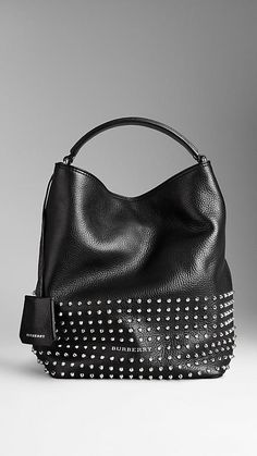 How I didn't pin this gorgeous one! The Medium Studded Leather Hobo Bag by @Burberry