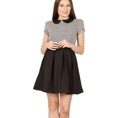 Black diamond print peter pan collar dress