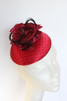 Ruby red base with black netting, red rose and black feather detailing. Small hat perfect for a wedding guest or day at the races. Jenny Joseph, Hat Styles, Red Hat Society, Lady In Waiting, Bride Of Christ, Pink Hat, Black Feathers, Race Day, Red Hats