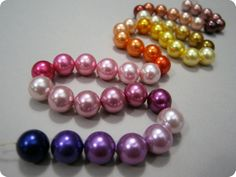 Home dyed pearls.  So complicated, but so beautiful!
