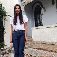 Thina in Australia wears the Pencil Jean + Fine Jersey T. #AmericanApparel